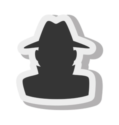 silhouette man hat detective spy isolated vector image