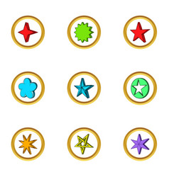 star emblem icons set cartoon style vector image