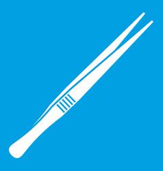 Tweezers icon white vector