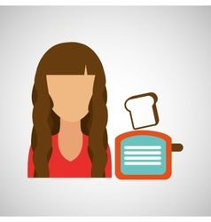 Girl with bread icon vector