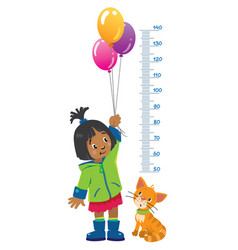 Meter wall or height chart with girl and kitten vector