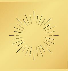 Sun burst vintage hand drawn hipster gold logo vector