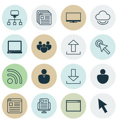 Set of 16 internet icons includes pc website vector