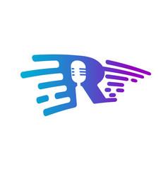 Microphone radio logo voice recorder interview vector