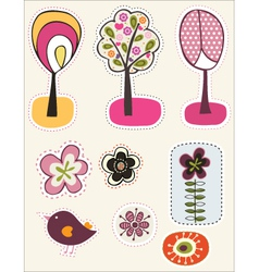 Nature stickers vector image