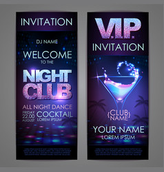 Set of disco background banners cocktail night vector