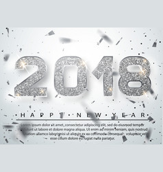 2018 happy new year silver numbers design of vector image vector image
