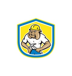 Bulldog construction worker holding hammer cartoon vector