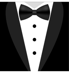 Flat black and white tuxedo bow tie vector