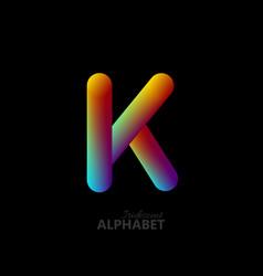 3d iridescent gradient letter k vector