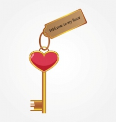 Gold key with tag vector
