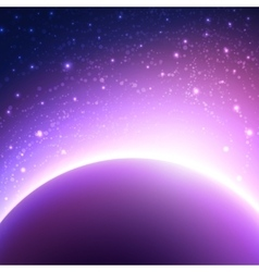 Space background with planet and shining sun vector