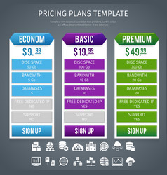 Software pricing plans template vector