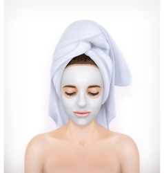 Young woman with face mask vector