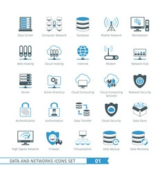 Networks icon set 01 vector