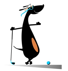 Dog is playing golf vector