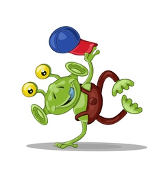 Funny cartoon alien breakdancer vector