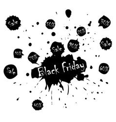Black friday sale poster with blots in vector