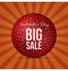 Big sale valentines day red circle greeting banner vector