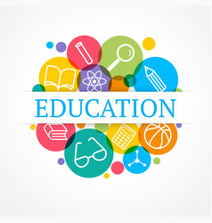 Science and education concept set of flat icons vector