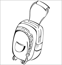 Black and white contour luggage bag vector