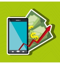 Money online from smartphone isolated icon design vector