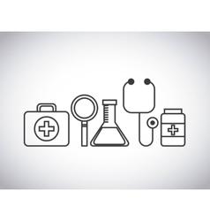 Stethoscope medical kit lupe flask medicine design vector