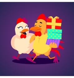 A smiling rooster and hen vector