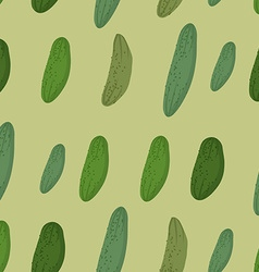Background of green cucumber seamless pattern of vector image