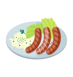 Bavarian sausages with pasta and lettuce on plate vector