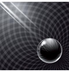 Black glass ball and rays of light vector image vector image