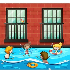 Boys and girls swimming in the pool vector image vector image