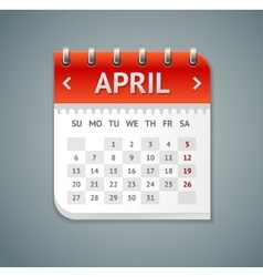 Calendar April Flat Design vector image