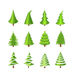 christmas tree icons set vector image