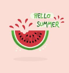 cute red juicy hello summer watermelon icon vector image