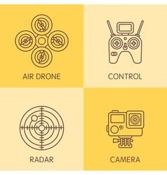 Drone line icons vector