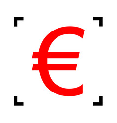 Euro sign red icon inside black focus vector