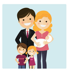 family with two children and a newborn baby on vector image vector image