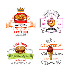 Fast food symbols with burger donut and ice cream vector