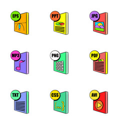File extensions icons set cartoon style vector