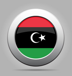 flag of libya shiny metal gray round button vector image vector image