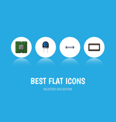 Flat icon appliance set of resistor transducer vector