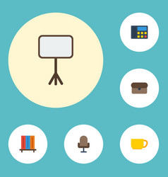 Flat icons armchair phone suitcase and other vector