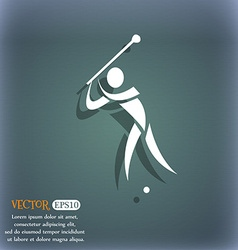 Golf icon on the blue-green abstract background vector