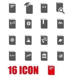 grey schoolbook icon set vector image vector image