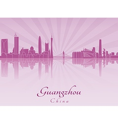 Guangzhou skyline in purple radiant orchid vector
