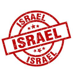 Israel red round grunge stamp vector