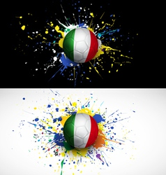 Italy flag with soccer ball dash on colorful vector image