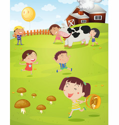 Kids playing on farm vector image