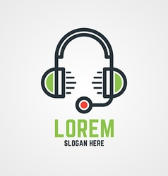 Logo Template Headphones with Microphone Hotline vector image vector image